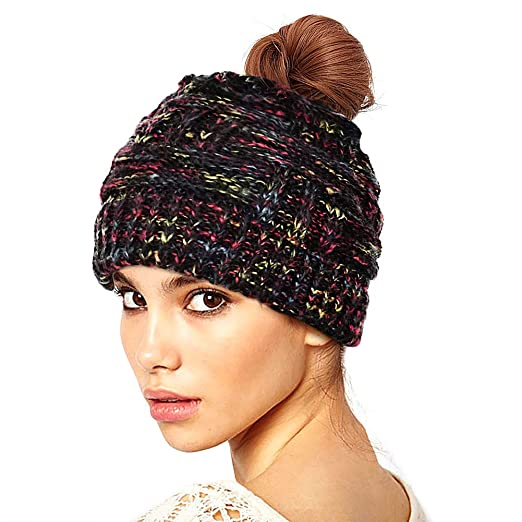 Proboths Women s Ponytail Beanie Hat Soft Stretch Cable Knit Hat Warm  Winter Hat Black Kaleidoscope Mix 52dcc29eca7