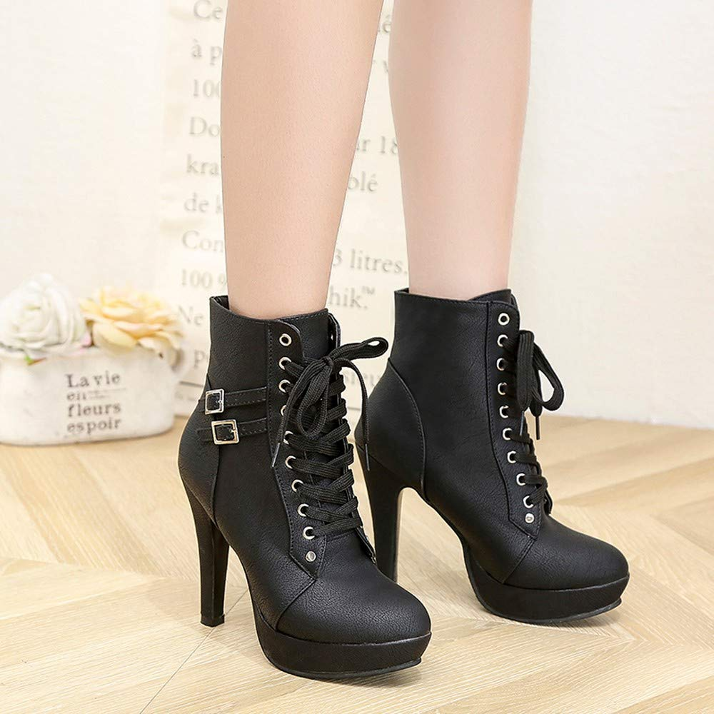 Stiletto Heeled Boots Sunmoot Fashion Women Ankle Lace-up Round Toe Leather Shoes