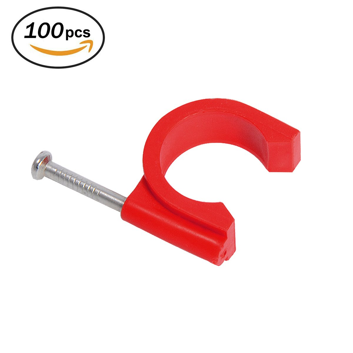 Firecore 3/4 Inch Tube Clamp with Nail Red for Wire Pipe, Cable, Water Pipe (100pcs)
