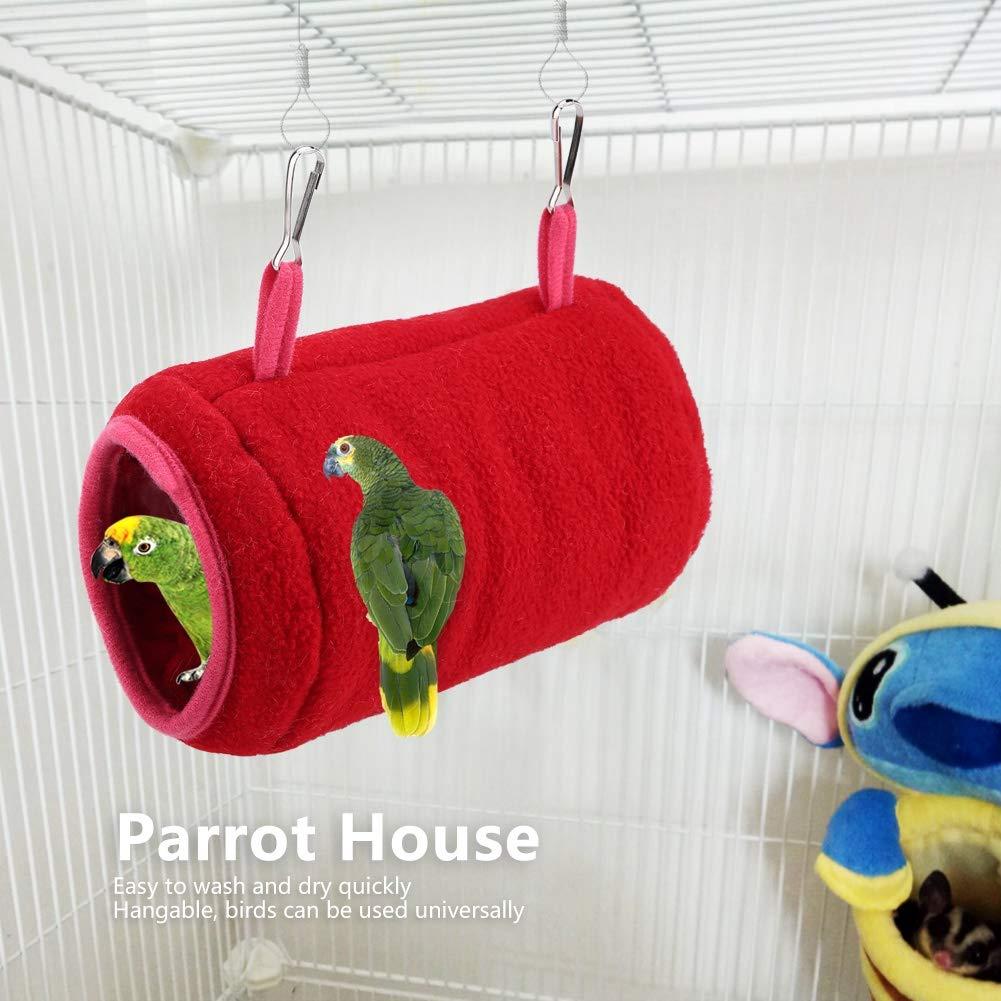 Garosa Casa De Nido De Pájaros Cobertizo De Felpa Colgando Hamaca Túnel Nido Invierno Cálido Swing Cage For Birds Loro Hamster Ardilla(Rojo): Amazon.es: ...