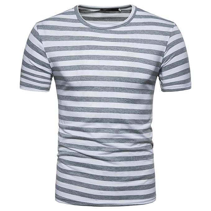 0f2aee7925d6c ... Camisetas Hombre Algodón Camisetas Hombre Verano Blusa Hombre Manga  Corta Tops Camisetas Hombre Rayas T Shirts For Men Blusa Hombre Blanca   Amazon.es  ...