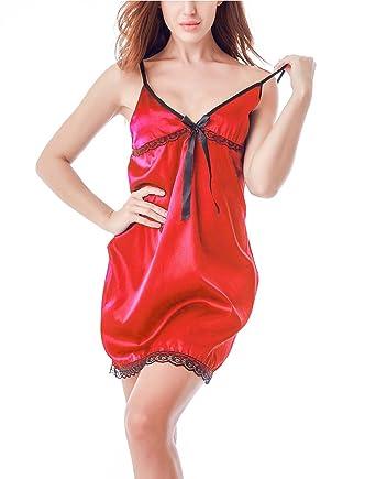 SYGoodBUY Vestido de Manga Corta para Mujer Pijamas Sexy con ...