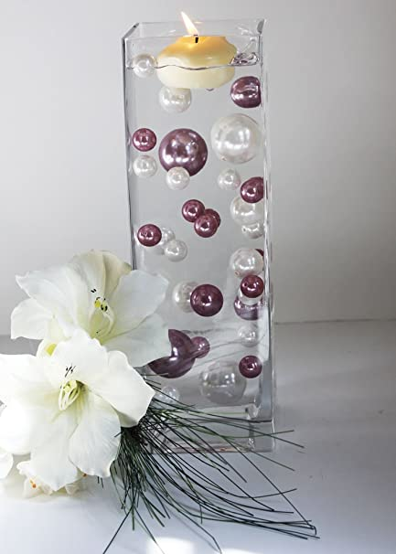 Amazon Unique Vase Filler 34 Lavender And White Pearl Beads