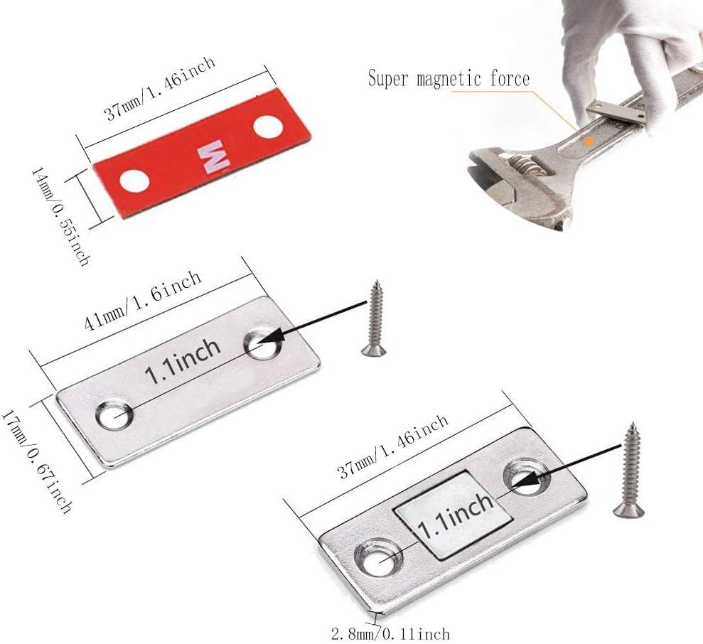 YQ 6St/ück Magnetischer T/ürverschluss,Schrankt/ür Magnet,Ultra D/ünne Starke Magnetische T/ür Fangen Klinke mit Schrauben f/ür Hauptm/öbel T/ürm/öbel Schrank