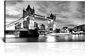 KLVOS Canvas Wall Art Black White London Tower Bridge Canvas England Cityscape Painting UK Pictures Modern Artwork Home Decor for Living Room Giclee Wooden Framed Stretched Ready to Hang 24x48 inch