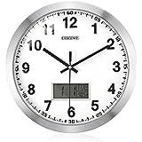 Horloge Murale Silencieuse COZIME Horloge de Paroi 12 Pouces Pendule Décorative Avec Affichage à Cristaux Liquides Multifonctions Horloge en PVC Miroir Acrylique Cadre en Aluminium et Argenté (argent(12inch))