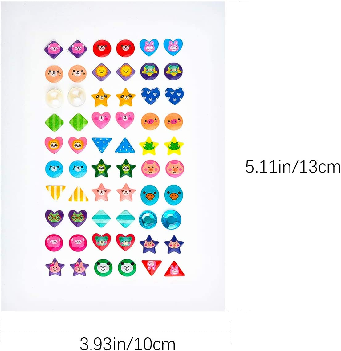 4 Sheet SAVITA 240 Pcs Stick on Earrings 3D Gem Stickers Glitter Sparkle Crystal Stickers Sticker Earrings for Girls Kids Children Multiple Colors /& Shapes