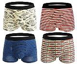 Seaoeey Men's Boxer Briefs 4 Pack Pants Cotton Breathable Underwear Mix Color1 Large