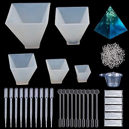 silikon Form Resin DIY Schmuck Gießformen für Harz, 5 Stück Silikon Pyramide Form Resin Anhänger Basteln Gießform+100 Stück A