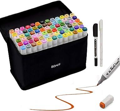 40//80 Farbige Marker Set,Graffiti Pens Marker Stift Set Doppelspitze Textmarker