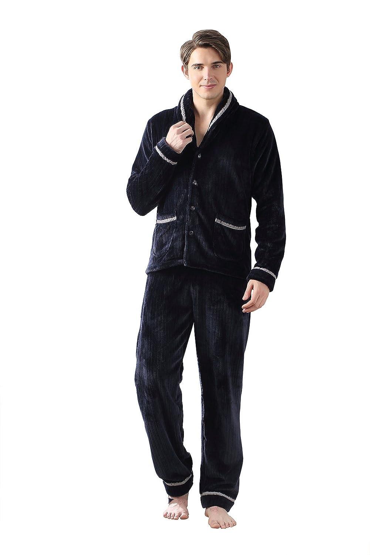 Sunshine Chow Elegante Pijamas de Pijamas de Pijamas de Manga Larga de Franela se Puede Utilizar al Aire Libre en Pijamas de los últimos Hombres: Amazon.es: ...