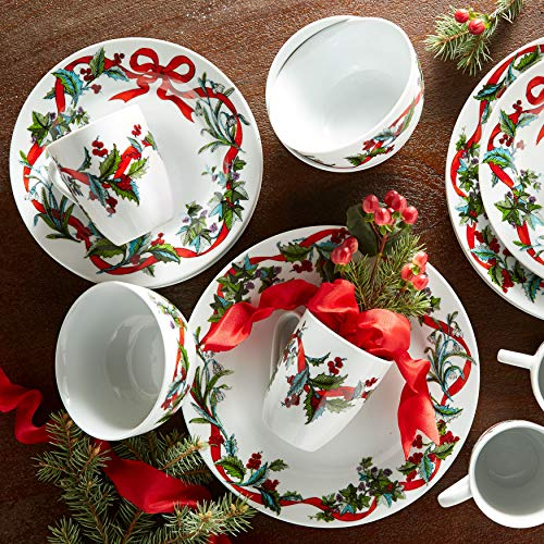 Brylanehome 16-Pc. Christmas Dinnerware Set - White (Christmas Dinner Set)
