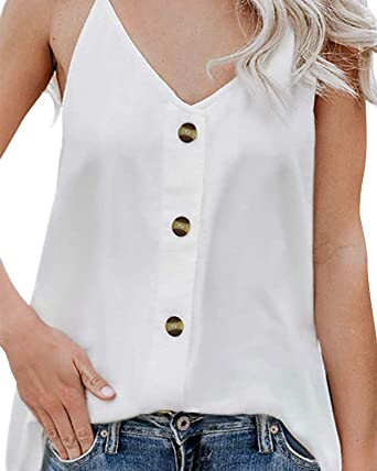 Women Strappy Sleeveless V Neck Vest Tank Top Ladies Casual Loose T-Shirt Blouse