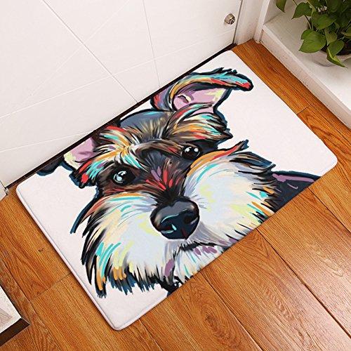 YJ Bear Thin Lovely Gray Dog Pattern Floor Mat Coral Fleece