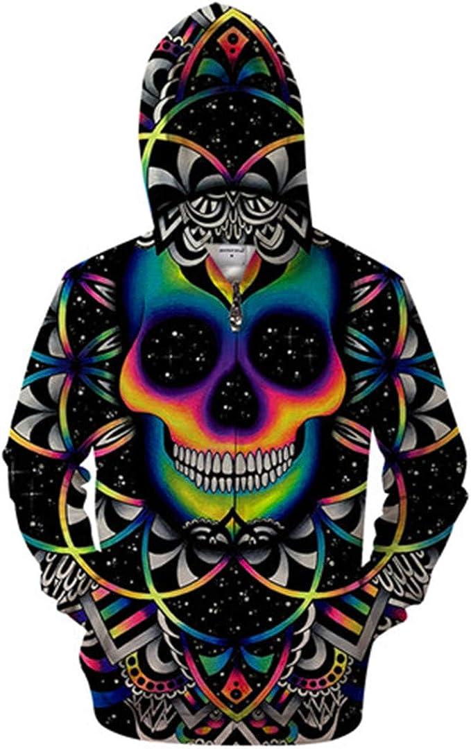 Art 3D Print Zipper Hoodies Skull Hoodies Pullovers Tracksuits Sweatshirt