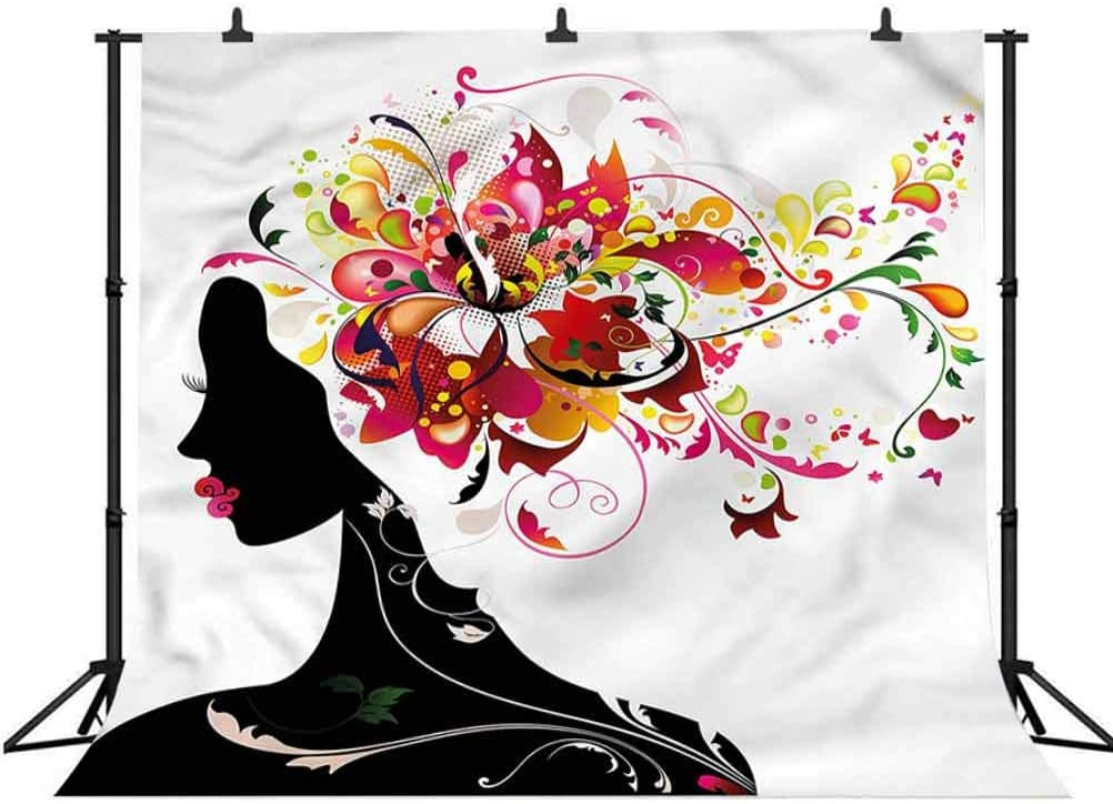 6x6FT Vinyl Backdrop Photographer,Modern,Floral Hairdress Woman Art Background for Party Home Decor Outdoorsy Theme Shoot Props