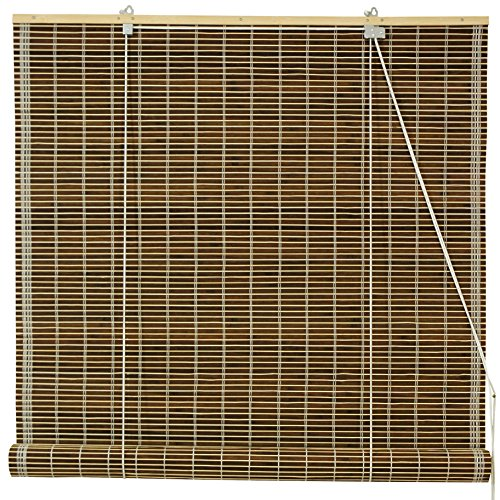 Oriental Furniture Burnt Bamboo Roll Up Blinds - Olive Green - (24 in. x 72 in.) -