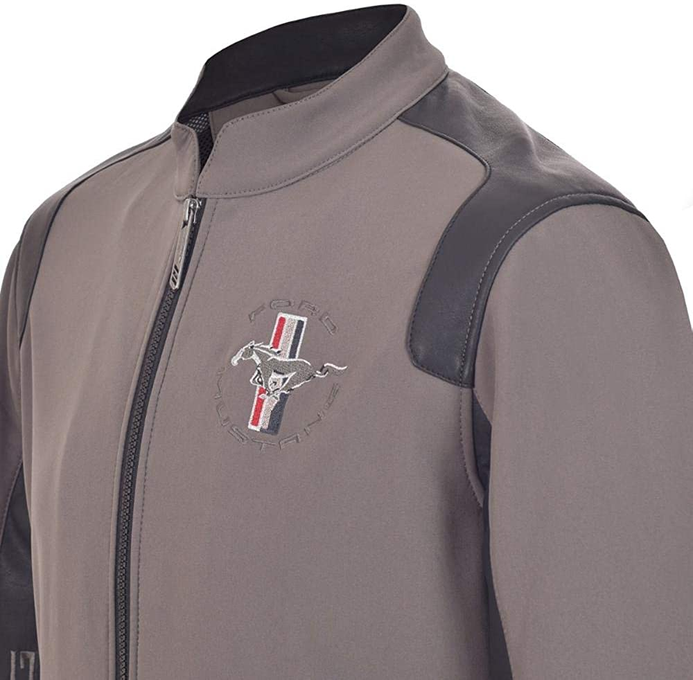 Mustang Jacket P-51 Gray Fabric with Imitation Details Leather