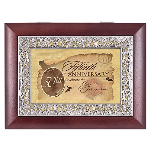 50th Anniversary Rosewood Finish with Silver Inlay Jewelry Music Box - Plays Tune Wonderful World