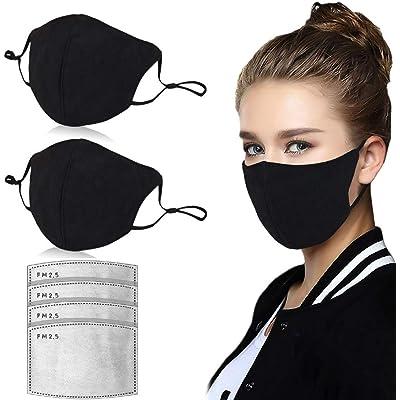 𝐌𝐚𝐬𝐜𝐚𝐫𝐢𝐥𝐥𝐚 de algodón de 2 Piezas Lavable y Reutilizable Tela cómoda Tela a Prueba de Polvo Resistente al Viento Protección Exterior con 4 filtros PM2.5