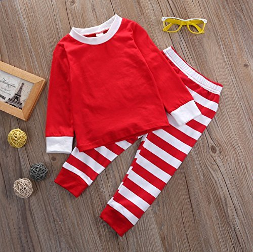 081cde484 Charm Kingdom Little Boys Girls Long Sleeve Top and Stripe Pants Christmas  Pajamas Sets (Red