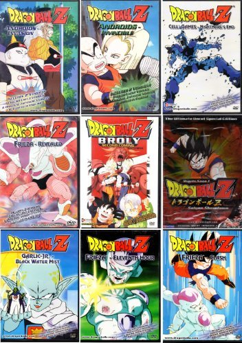 Dragon Ball Z DVD Collection - 9 DVDs (Broly Second Coming, Cell Games-Nightmare's End, Androids-Invincible, Frieza-Revealed, Androids-Invasion, Frieza-Clash, Frieza-Eleventh Hour, Garlic Jr-Black Water Mist, Vegeta Saga 1)
