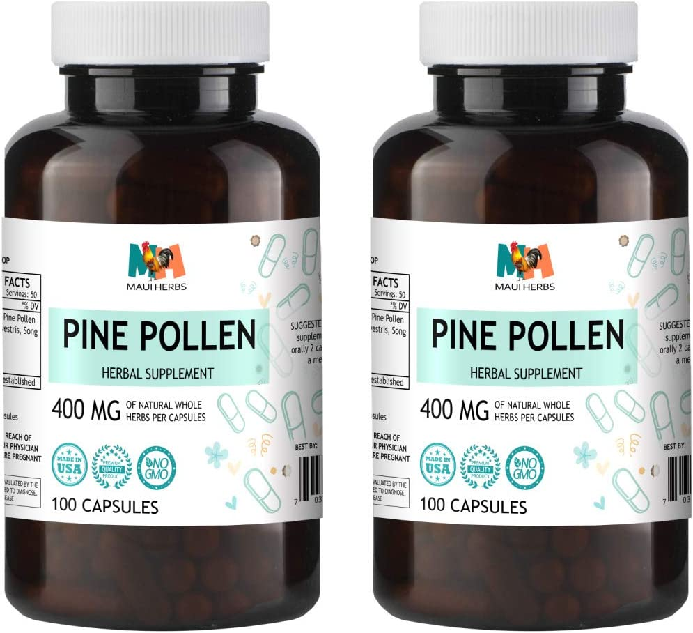 Pine Pollen Testosterone Capsules, 400 mg, Wildcrafted Pine Pollen Scots Pine, Pinus Sylvestris, Song Hua Fen 2×100 Capsules