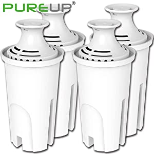 PUREUP 4 Pack Standard Water Filter Compatible with Brita Pitchers and Sispensers, Premium Pitcher Replacement Filters