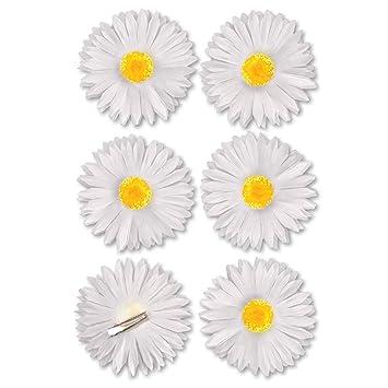 Deko Blumen Clip 6 Stück Blüte weiss Textilblumen Blütentraum ...