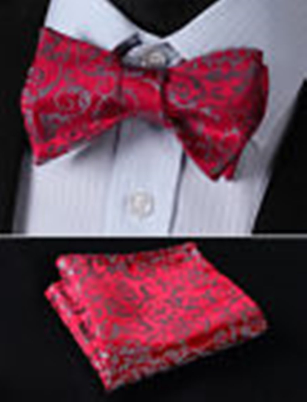 Mondaily DL2018R Red Gray Floral Men Woven Silk Self Bow Tie Pocket Square Set #PPTE4666