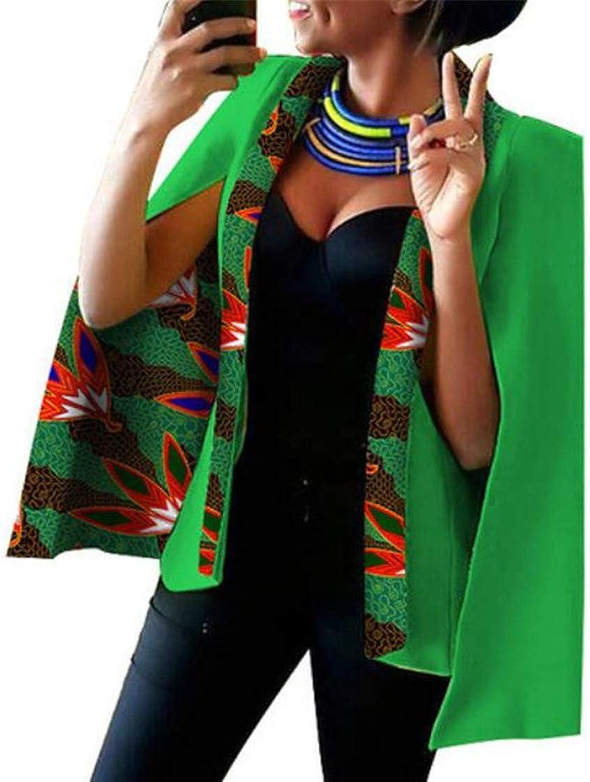 CRYYU Women Slit Open Front Poncho Cape Sleeve Printed Shawl Blazer Jacket
