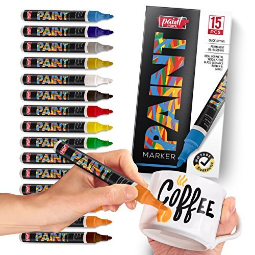 Paint Mark Quick-Dry Paint Pens - Write On Anything! Rock, Wood, Glass, Ceramic & More! Low-Odor, Oil-Based, Medium-Tip Paint Markers (15 Pack) by Paint Mark