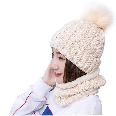 8ba1a13be84b23 Stynice Wintermütze, Warm Beanie Strickmütze und Schal Set mit Fleecefutter  - Slouch Beanie Mütze für