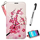 JITTERBUG SMART (5.5' SCREEN) Wallet, JITTERBUG SMART (5.5' SCREEN) Wallet PU Leather Case Premium Pouch ID Credit Card Cover Flip Folio Book Style with Money Slot (PINK/WHITE WALLET)