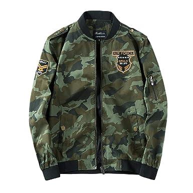 dcd637e93 Abetteric Mens Autumn Camouflage Cotton Leisure Army Bomber Jacket ...