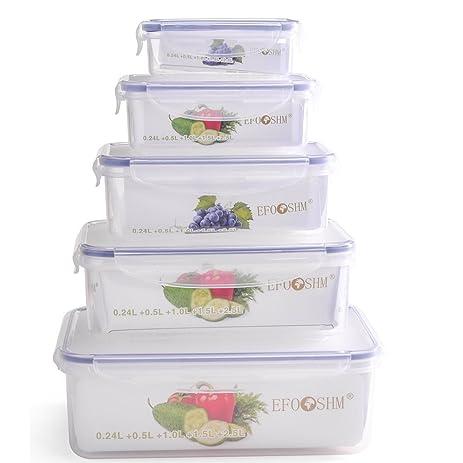 EFOSHM 5 Piece Food Storage Containers Organizer Set With Lids (Clear)