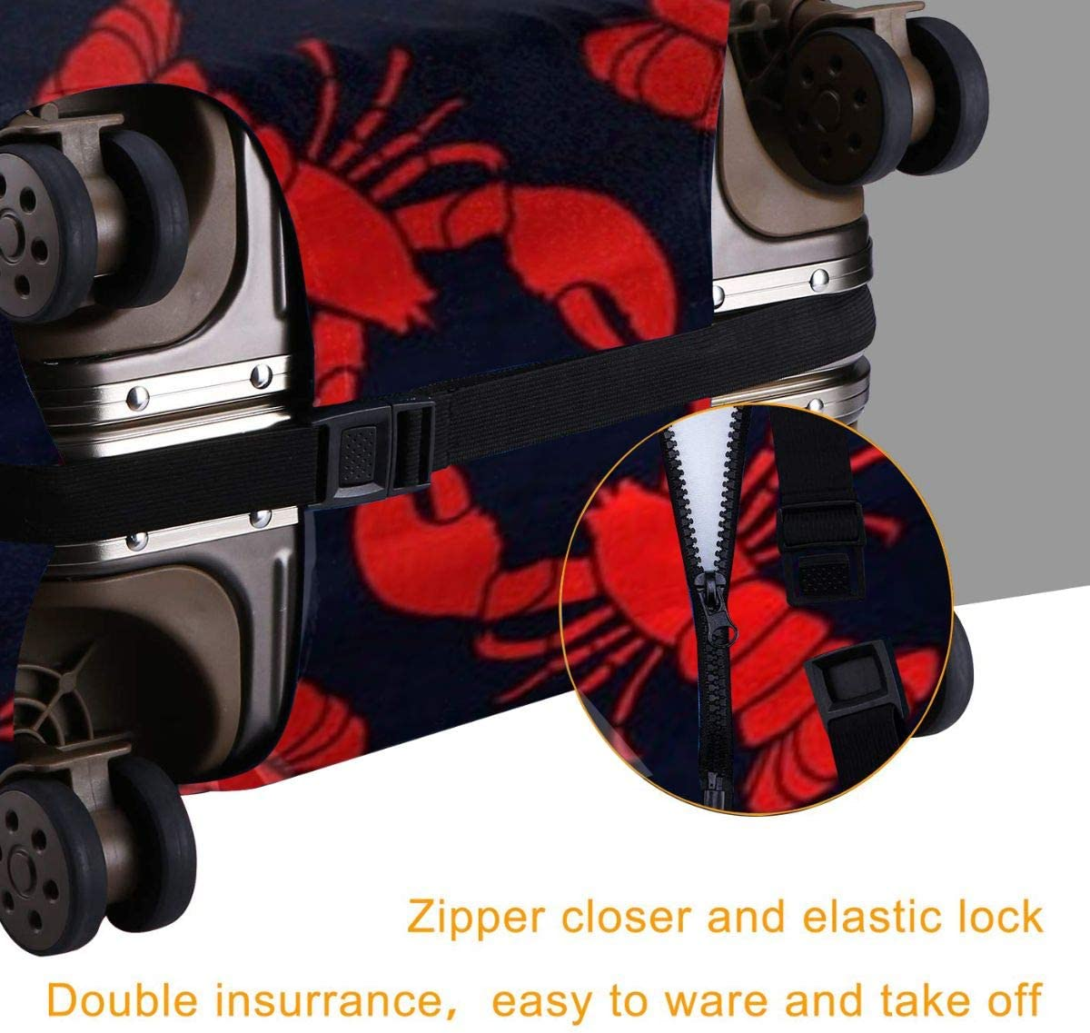 Luggage Cover Elastic Travel Suitcase Protector Fits 18-32 Inch Printed Crayfish XL