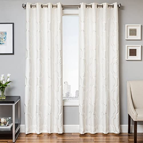 Softline Torino Series Woven Grommet Top Window Treatment Panel Drape Curtain with Subtle Geometric Woven Design in White, White, 55 x 84