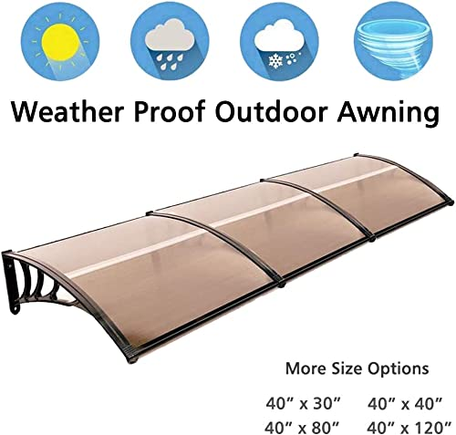 Nollapo 116 inch 78 inch 39 inch Window Awning Outdoor Polycarbonate Hollow Sheet Door Patio Canopy 40 x40 , Dark Brown Canopy Black Bracket 40 x 120 , Dark Brown Canopy Black Bracket