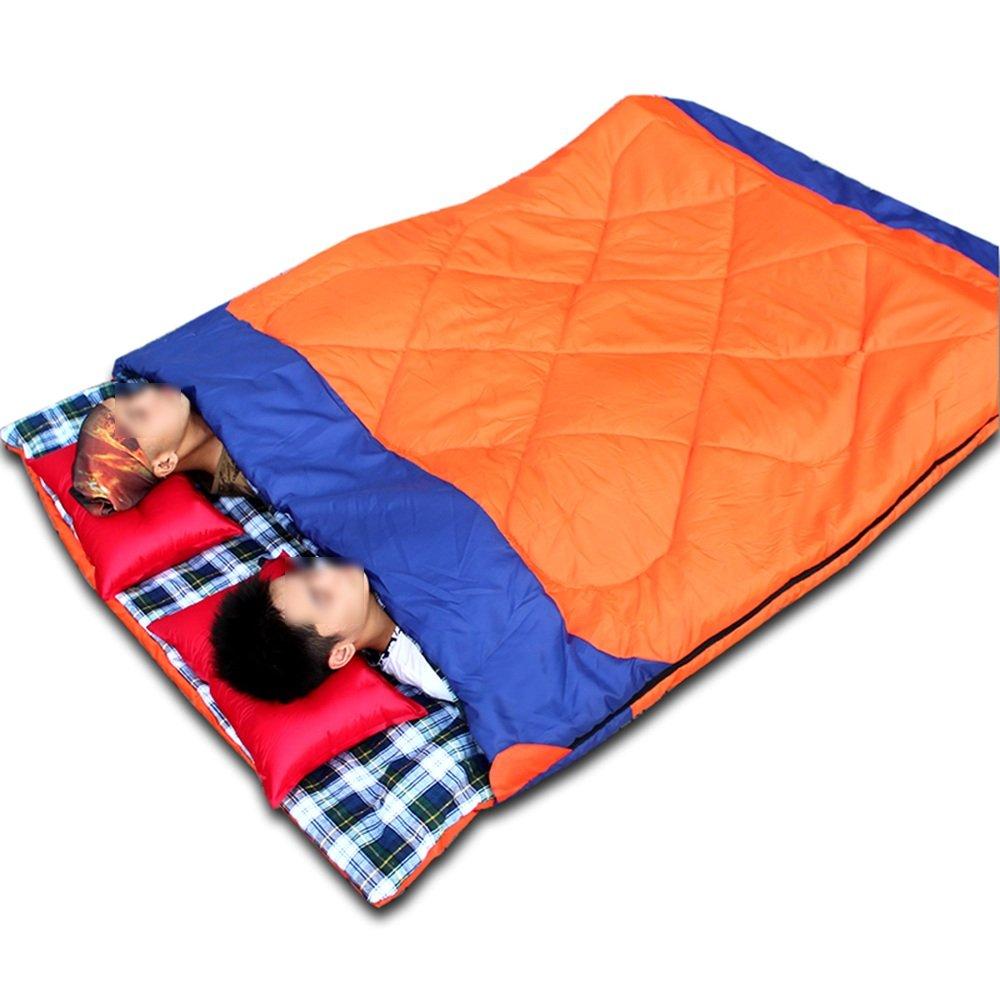 LJHA shuidai エンベロープ寝袋/ダブル恋人寝袋/アウトドアキャンプハイキングコットン長方形の寝袋、圧縮袋なし枕(190 + 30)* 150cm (色 : Orange) B07FBL3YFZ  Orange