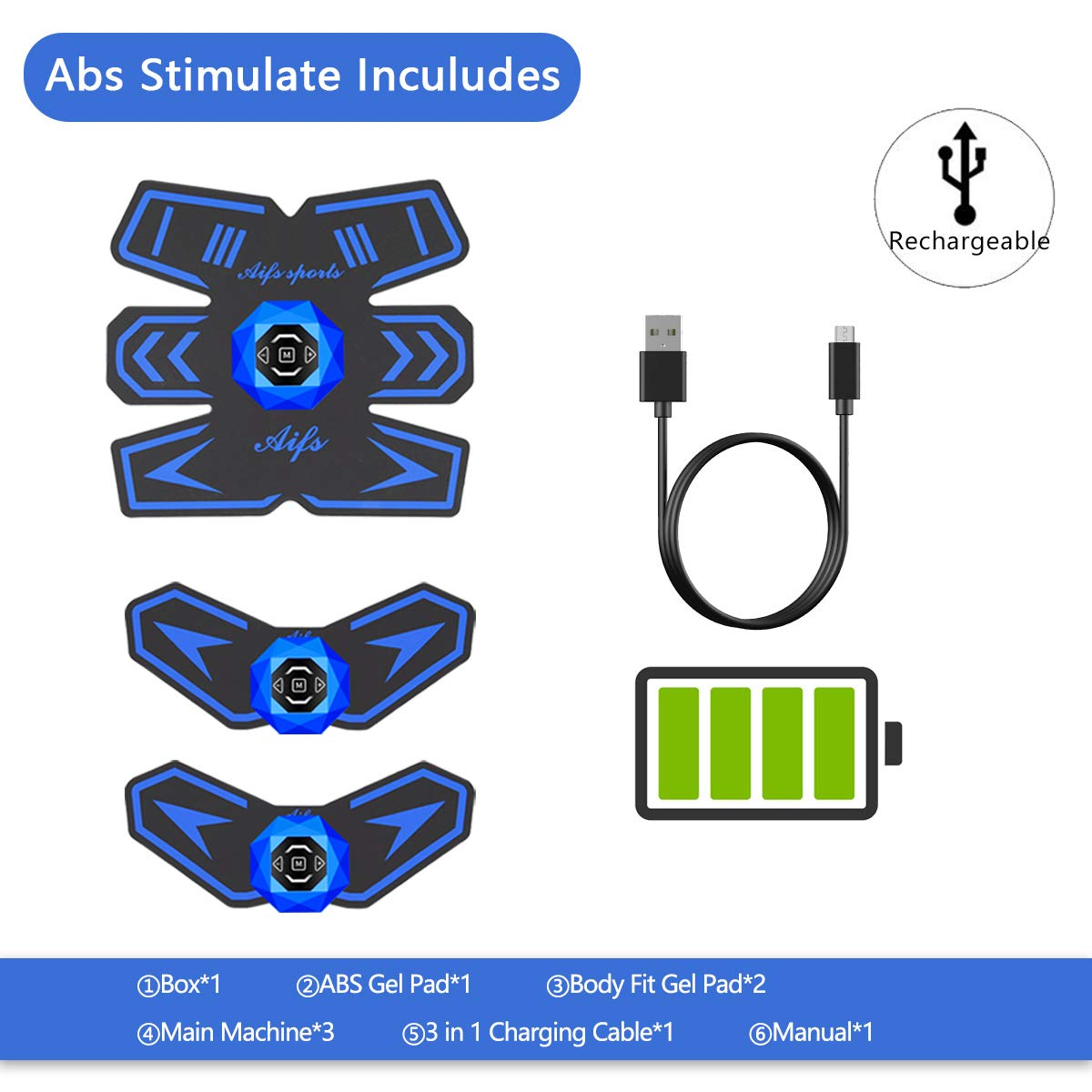 Abs Stimulator/Ab Stimulator/Muscle Toner Rechargeable Muscle Trainer Ultimate Abs Stimulator for Men Women Abdominal Work Out Ads Power Fitness Abs Muscle Training Gear ABS Workout Equipment Portable