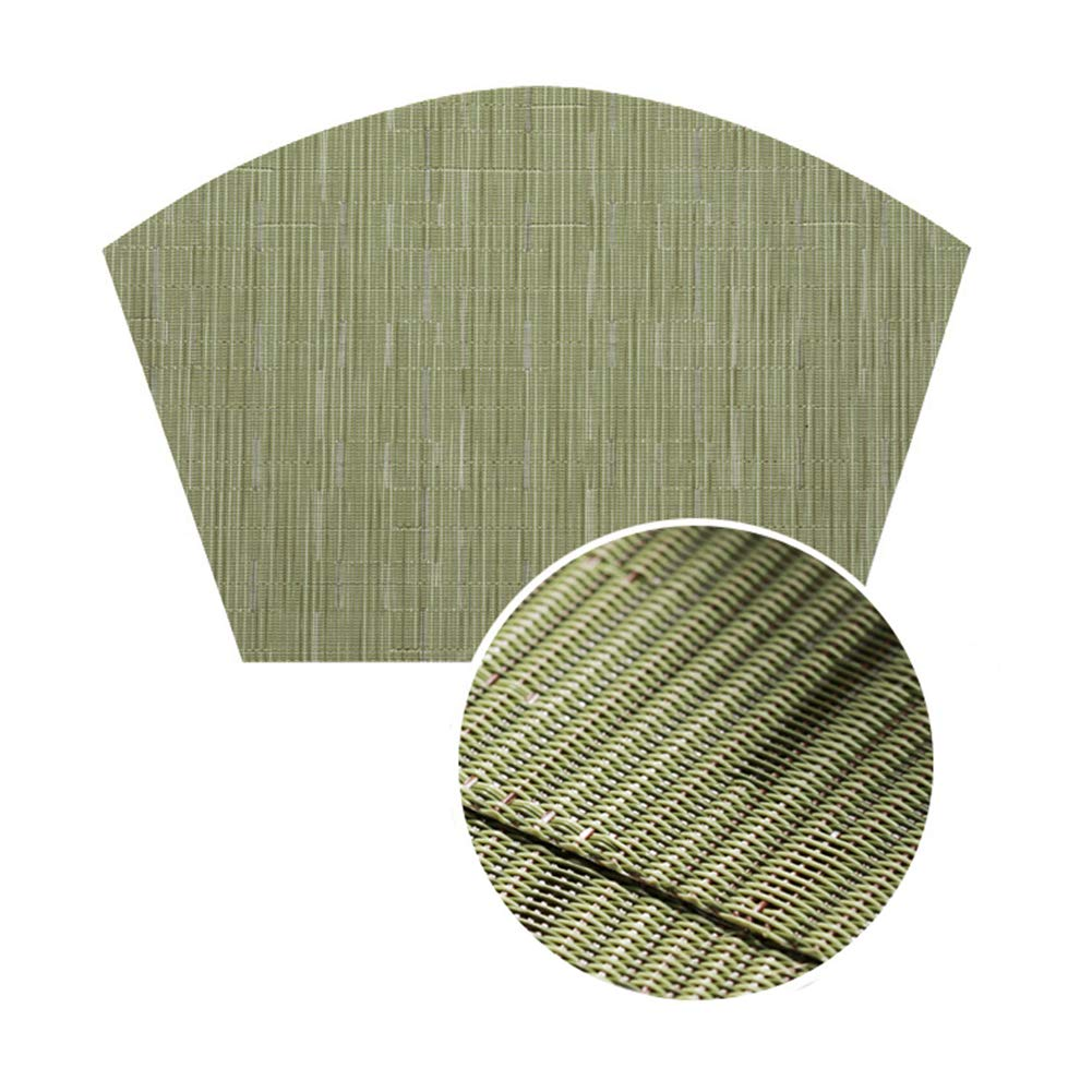 Qi Xiang Ju Decorative Bamboo Pattern Placemats for Dinner Table,PVC Non-Slip Table Mat for Home,Heat Insulation Stain-Resistant Washable,Set of 6(Green)
