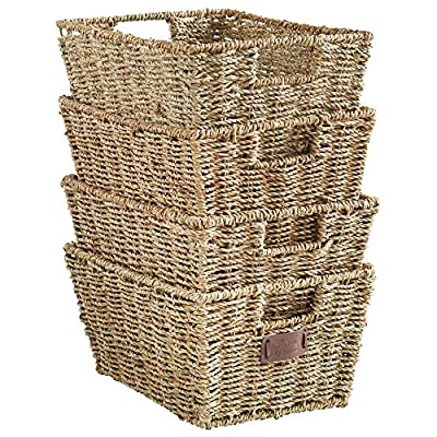 VonHaus Set of 4 Seagrass Storage Baskets with Insert Handles Ideal for Home and Bathroom Organization - 12(L) x 9(W) x 6(H) inches - SET OF FOUR: Set of 4 multi-purpose organization and storage baskets MULTIPLE USE: Great for storing a range of items including clothing, accessories, beauty products, letters, paperwork and general household items 100% SEAGRASS: Natural woven seagrass with wire frame and insert handles - living-room-decor, living-room, baskets-storage - 61HRSXjGCUL. SS400  -