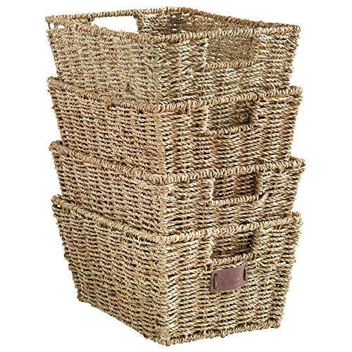 VonHaus Set of 4 Seagrass Storage Baskets with Insert Handles - Home & Bathroom Organizer Baskets - 12(L) x 9(W) x 6(H) inches