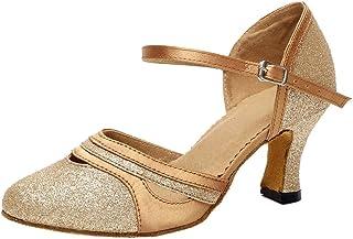 AQQ-7012 Womens Latin Tango Ballroom Party wedding 2.7 Inch Heel PU Dance-shoes Gold 38 EU(2IN)