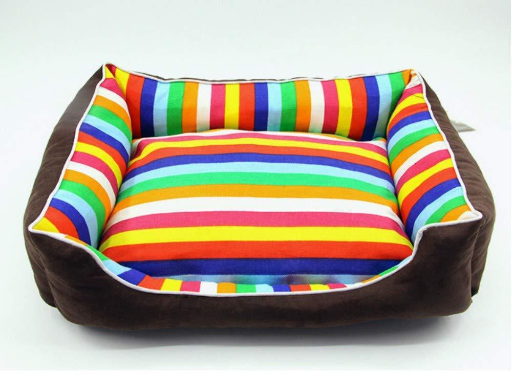GZDXHN Kennel Rainbow Colore Pet Nest Pet Mat Cat Nest Cuscino per Cani Pet Supplies Nest, XL (100X75X20Cm), D