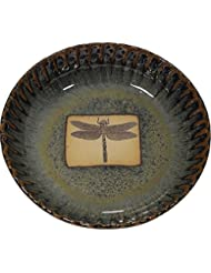 Dragonfly Fluted Pie Pan in Seamist Glaze