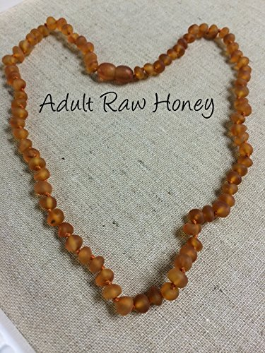 Arthritis Carpal Tunnel Necklace - 16 Inch Raw UnPolished Honey Baltic Amber Teen Adult Screw Clasp, knotted individually, Certified authentic Swelling, sciatica, headache migraine, back ache (16