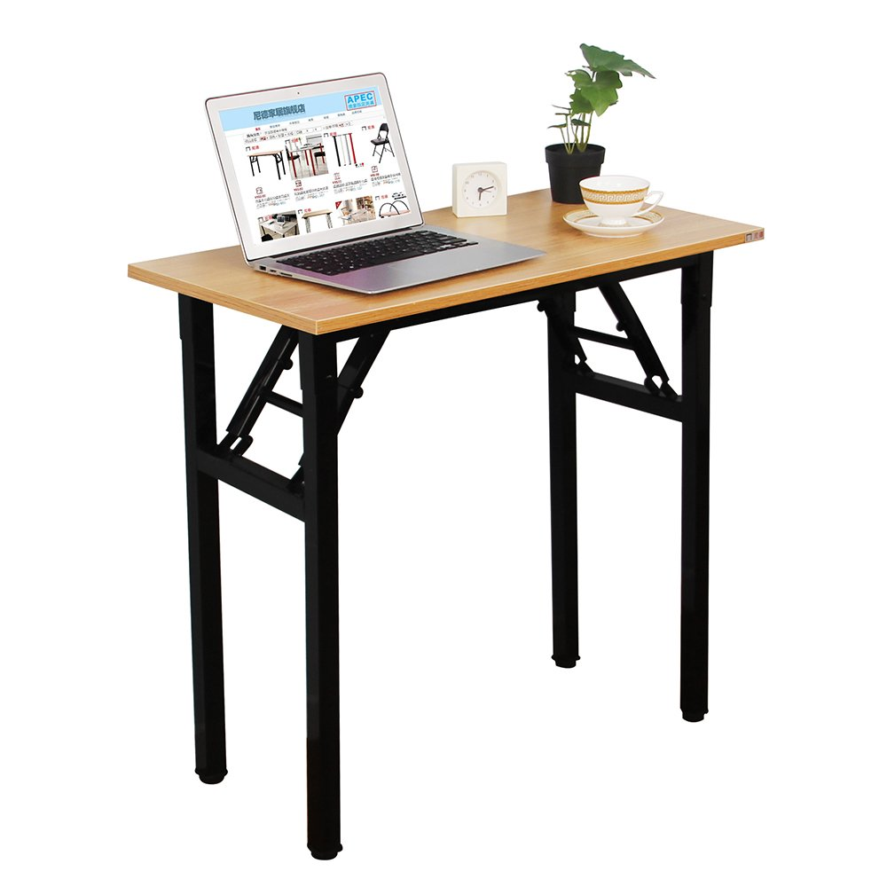 Need Small Desk 31 1/2'' Width Folding Desk No Assembly Required. Sturdy and Heavy Duty Desk for Small Space and Laptop Desk Damage Free Deliver(Teak Color Desktop & Black Steel Frame) AC5BB-E1(8040)