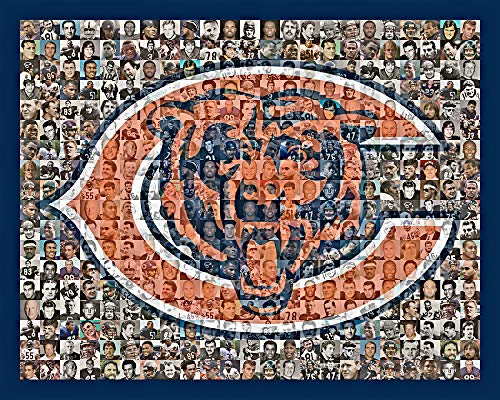 Chicago Bears Photo Mosaic Print Art, Showing Over 100 of the Greatest All Time Bears Players, 8x10